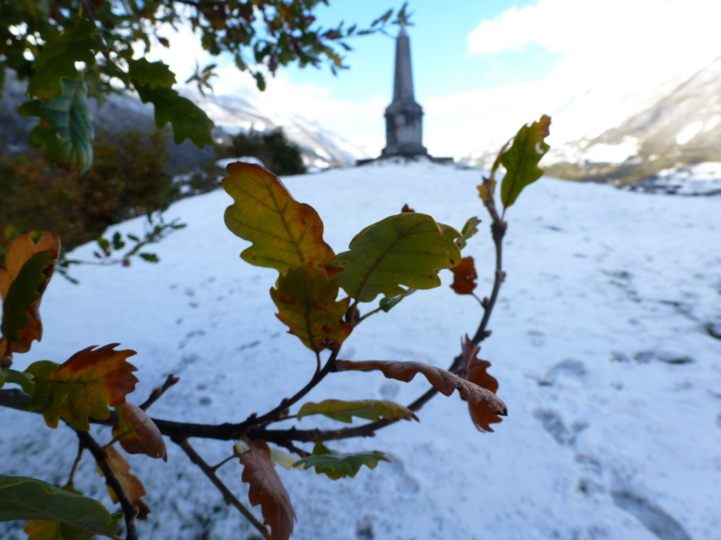 Autumn leaves and winter snow at Solférino